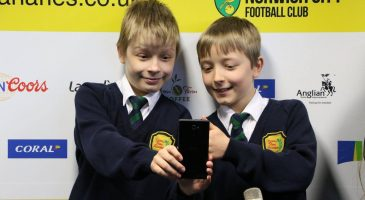 pupils on a tour of norwich city football club
