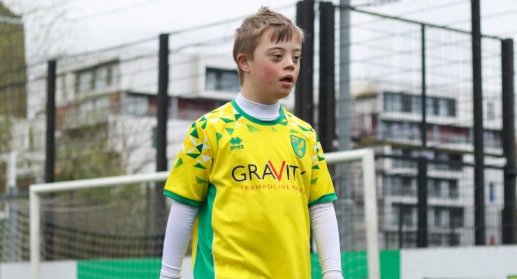 A player in our downs syndrome football session
