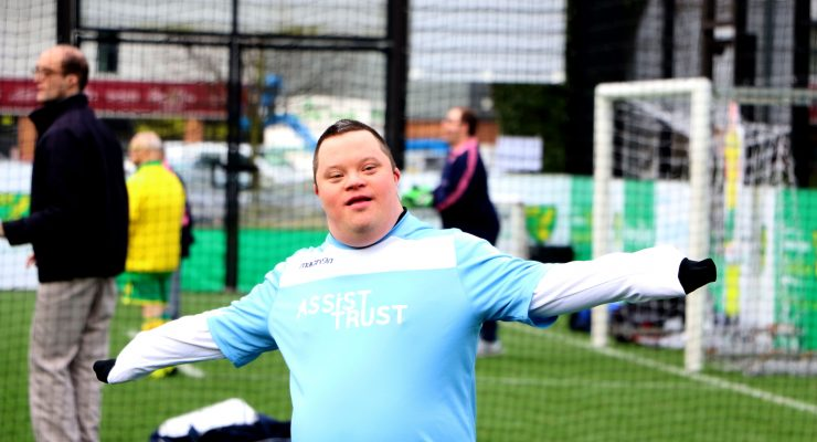 footballer with downs' syndrome celebrates