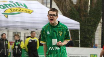 young footballer celebrates