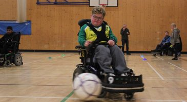 powerchair football players