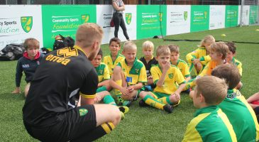A coach speaks to soccer school children