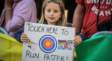 Thousands of spectators cheered on the runners