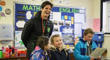 Timm Klose pays visit to Bignold Primary School