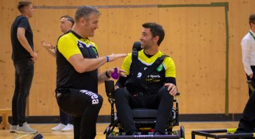 Powerchair football team Darren Hunter Simon Lappin