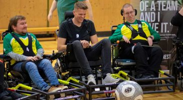 Watch: Powerchair team receive visit from Jake Humphrey & Simon Lappin