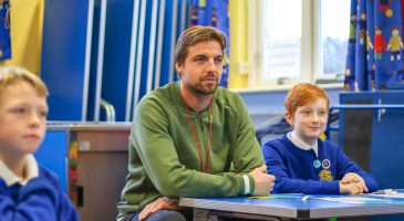 Krul visits Spooner Row Primary School