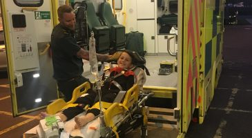 Ollie in the ambulance