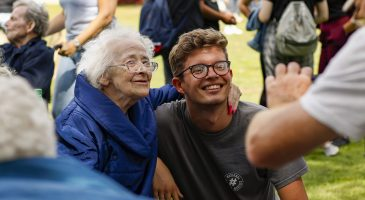 NCS volunteer with care home resident