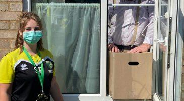 Steph delivers food parcels