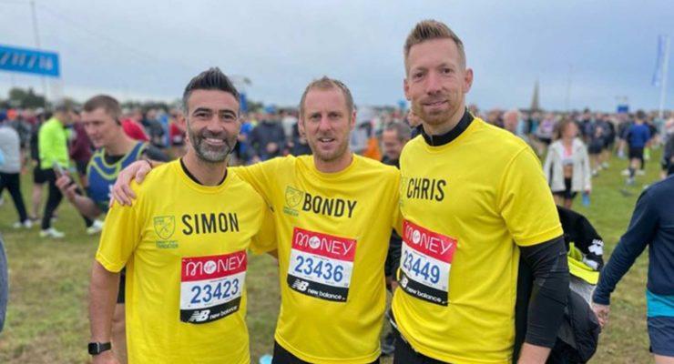 Simon, Nick and Chris at London marathon 2021